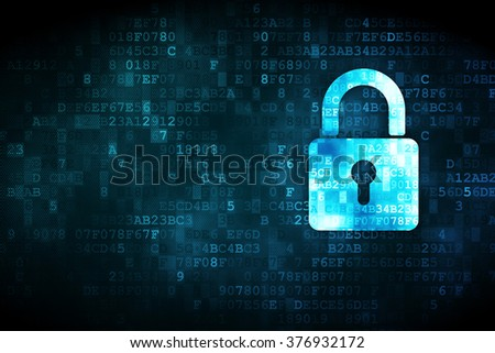 Privacy concept: Closed Padlock on digital background - stock photo