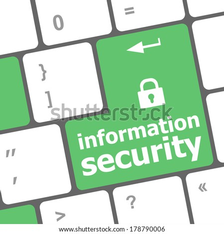 Privacy concept: computer keyboard with Closed Padlock icon and word Information Security on enter button - stock photo