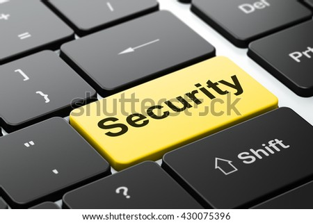 Privacy concept: computer keyboard with word Security, selected focus on enter button background, 3D rendering - stock photo