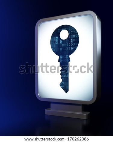 Privacy concept: Key on advertising billboard background, 3d render