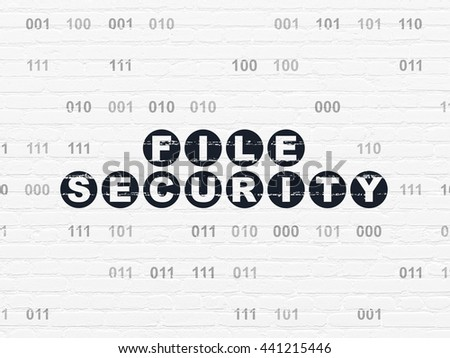 Privacy concept: Painted black text File Security on White Brick wall background with Binary Code