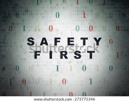 Privacy concept: Painted black text Safety First on Digital Paper background with Binary Code, 3d render - stock photo
