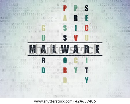 Privacy concept: Painted black word Malware in solving Crossword Puzzle on Digital Data Paper background - stock photo