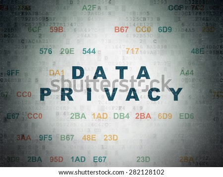 Privacy concept: Painted blue text Data Privacy on Digital Paper background with Hexadecimal Code, 3d render - stock photo