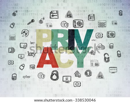 Privacy concept: Painted multicolor text Privacy on Digital Paper background with  Hand Drawn Security Icons - stock photo