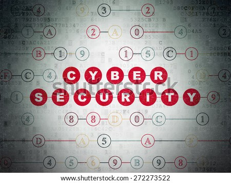 Privacy concept: Painted red text Cyber Security on Digital Paper background with Hexadecimal Code, 3d render - stock photo