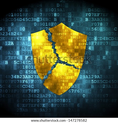 Privacy concept: pixelated Broken Shield icon on digital background, 3d render - stock photo