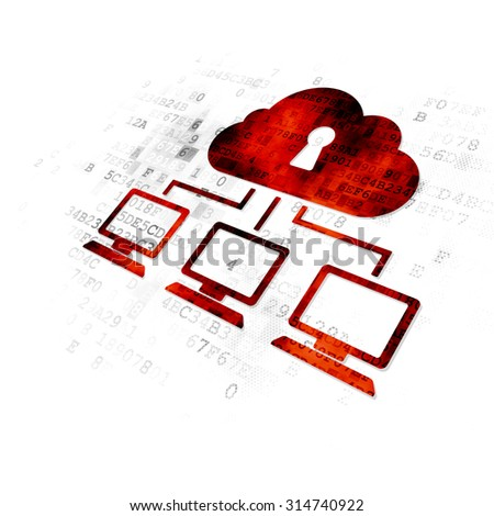 Privacy concept: Pixelated red Cloud Network icon on Digital background - stock photo