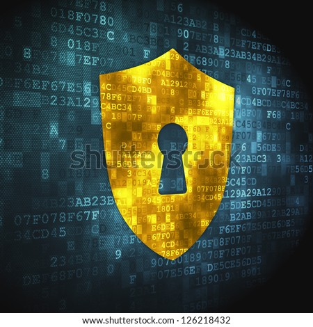Privacy concept: pixelated Shield With Keyhole icon on digital background, 3d render - stock photo