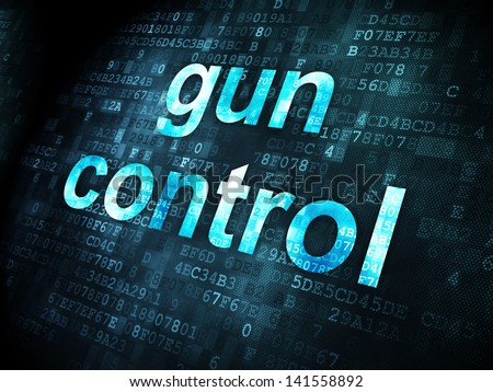 Privacy concept: pixelated words Gun Control on digital background, 3d render