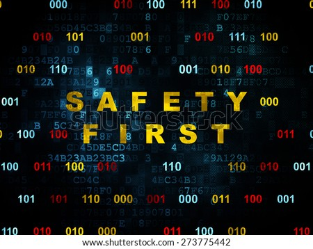 Privacy concept: Pixelated yellow text Safety First on Digital wall background with Binary Code, 3d render - stock photo