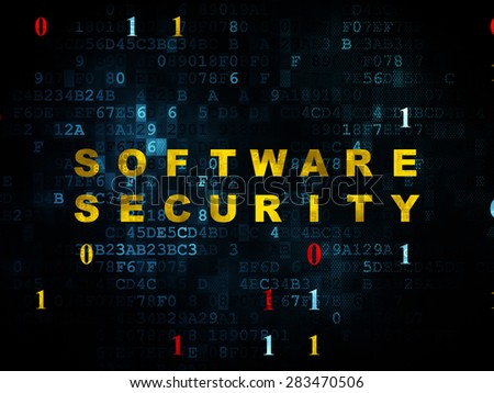 Privacy concept: Pixelated yellow text Software Security on Digital wall background with Binary Code, 3d render - stock photo