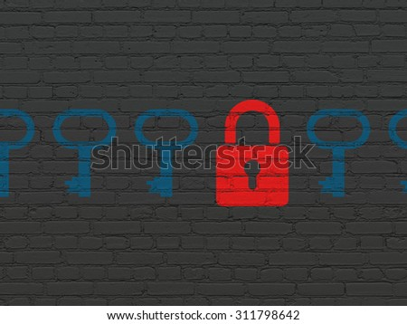 Privacy concept: row of Painted blue key icons around red closed padlock icon on Black Brick wall background - stock photo