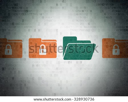 Privacy concept: row of Painted orange folder with lock icons around green folder icon on Digital Paper background - stock photo
