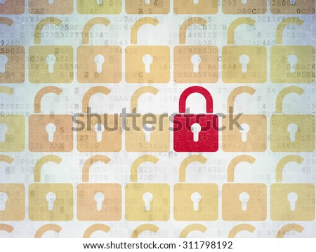 Privacy concept: rows of Painted yellow opened padlock icons around red closed padlock icon on Digital Paper background - stock photo