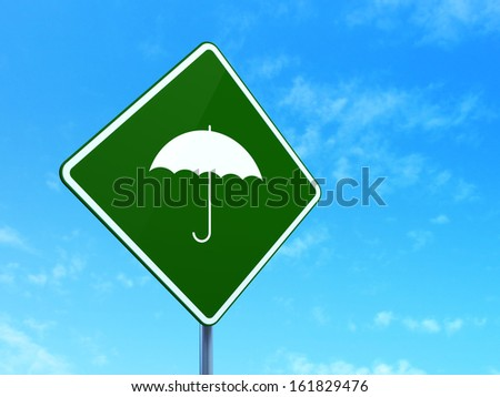 Privacy concept: Umbrella on green road (highway) sign, clear blue sky background, 3d render - stock photo