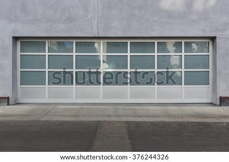 Privacy glass garage door - stock photo