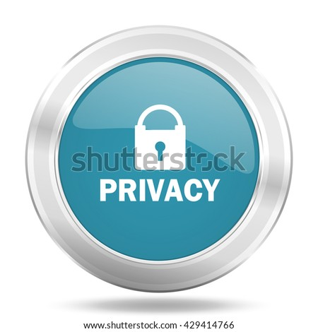 privacy icon, blue round metallic glossy button, web and mobile app design illustration