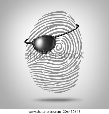 Privacy piracy concept and identity theft symbol as a finger print or fingerprint icon with a pirate eye patch as a private data security metaphor for online personal information risk. - stock photo