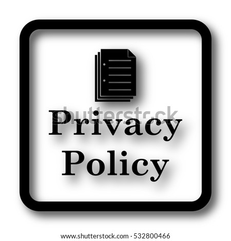 Privacy policy icon, black website button on white background.