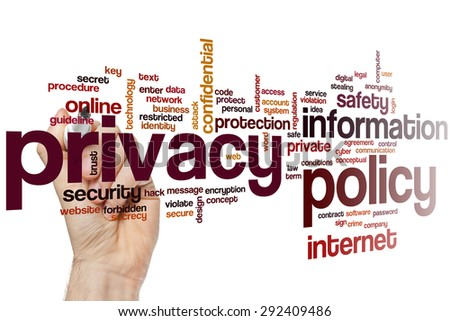 Privacy policy word cloud concept - stock photo
