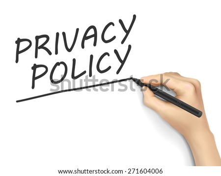 privacy policy words written by hand on white background