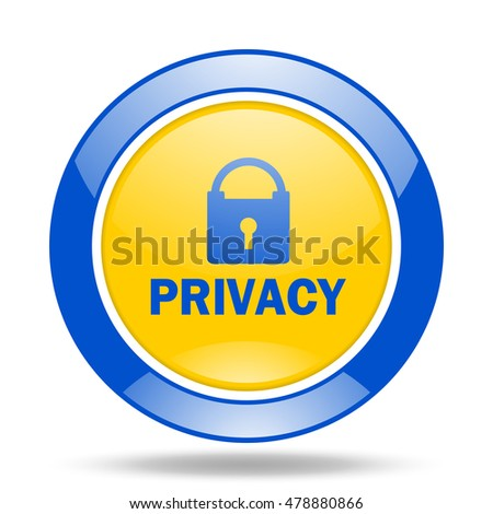 privacy round glossy blue and yellow web icon