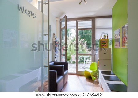 Privat Hospital, Clinical or medical practice waiting room - with empty chairs. - stock photo