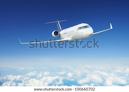 Private Airplane in the sky at day - stock photo