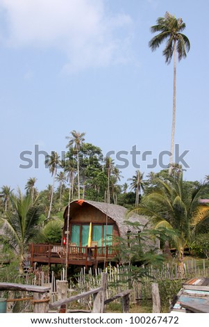 Private bungalow in tropical forest