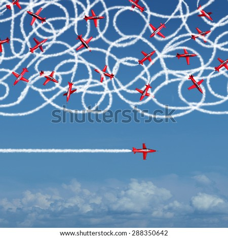 Private concept and privacy business symbol as a group of confused jet planes creating a tangled mess of smoke trails compared to a single focused airplane flying solo under the radar for success. - stock photo