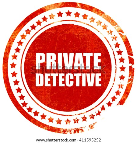 private detective, red grunge stamp on solid background - stock photo