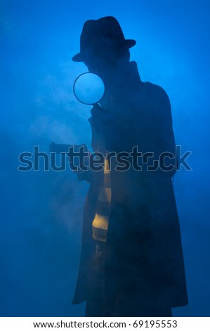 Private detective searching for information, isolated on a blue background
