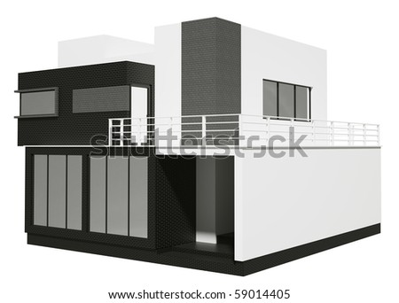 Private house exterior isolated over the white 3d - stock photo