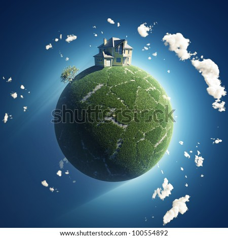 private house on green planet - stock photo