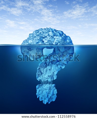 Private information hidden insider knowledge and secret personal or business data as a submerged iceberg in the shape of a question mark for internet encryption security or illegal trading . - stock photo