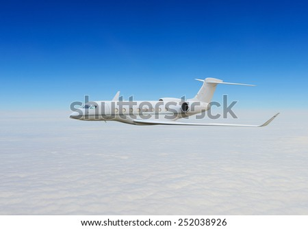 Private jet above the clouds - stock photo