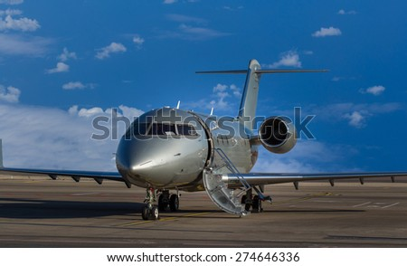 Private jet at airport is about to depart