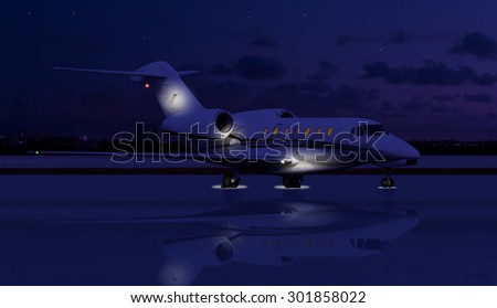 Private jet at night on the runway - stock photo