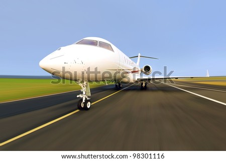 Private Jet Plane with Motion / Radial Blur - stock photo