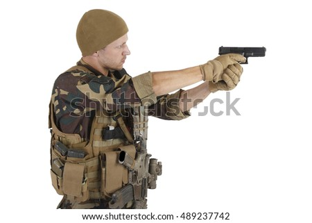 Private Military Company operator with hand gun