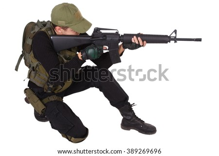 Private military contractor - mercenary with m16 rifle - stock photo