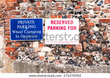 Private Parking sign close up with empty space for your text - stock photo