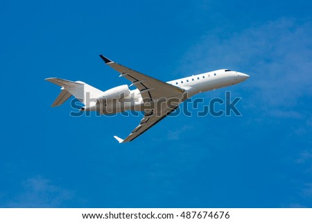 Private plane taking off and gear-up