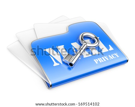 private post correspondence - Secure data concept. 3d illustration isolated on a white background