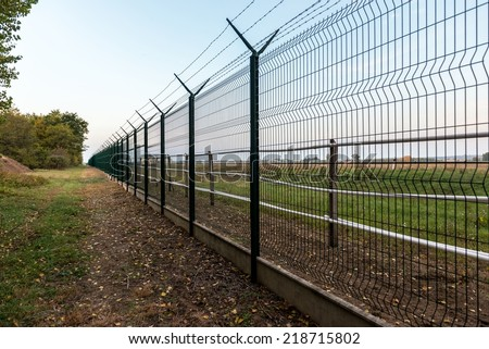Private property in the forest angle shot - stock photo