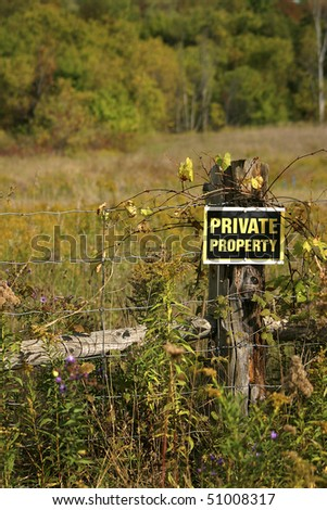 Private Property Sign On Gate - stock photo