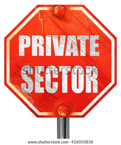 private sector, 3D rendering, a red stop sign - stock photo