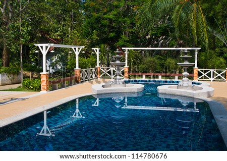 Private swimming pool in the garden