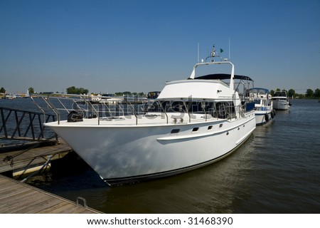 Private Yacht at the bloso-lake in Nieuwpoort, Belgium - stock photo
